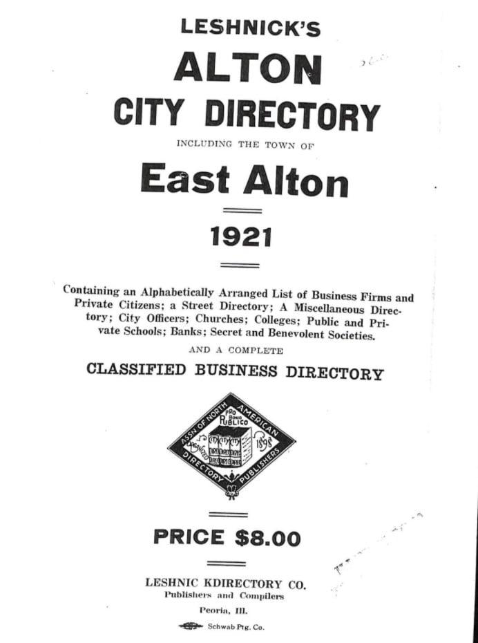 1921 Alton illinois City Directory
