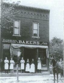 Swedish immigrants who settled in Rockford established several businesses. Shown here is the Blomberg and Swenson Bakery.