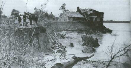 Living conditions along the banks of the Mississippi were often determined by the whims of its mighty strength. The town of Kaskaskia was eventually destroyed by the river when it changed its course. This house, perched precipitously on the eroded banks, eventually succumbed to the powerful currents.
