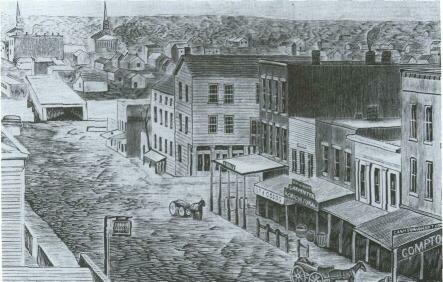 This drawing of Rockford in 1855 illustrates that it was thriving, with a well-established business district, churches, and numerous houses.